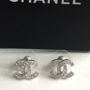 Authentic Chanel Swarovski Crystal CC Earrings